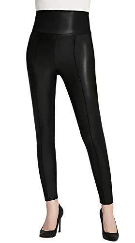 4cbfd8f66a Everbellus Sexy Mujer Leggins Cuero Niña Cintura Alta Pantalones Elásticos  Negro