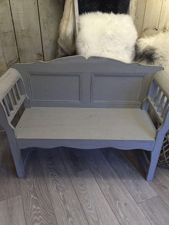 Swedish Wooden Bench Seat Painted In Nordic Grey Gray By Swedishdalahorse Trendingetsy