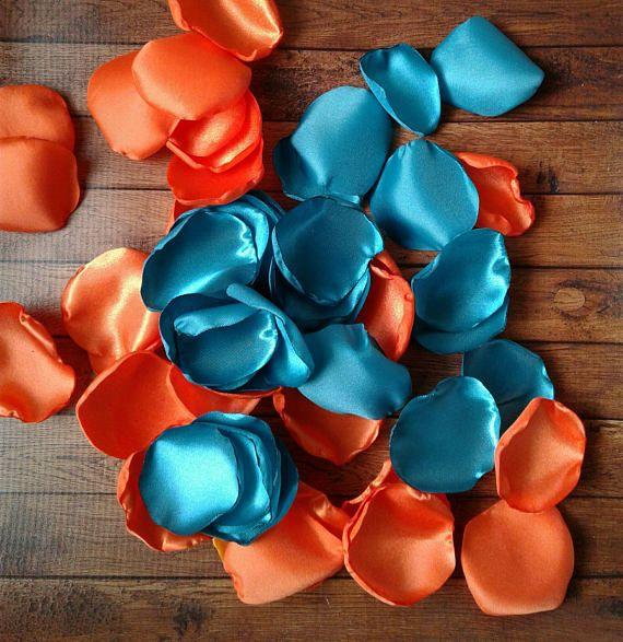 Turquoise petals turquoise wedding orange rose petals
