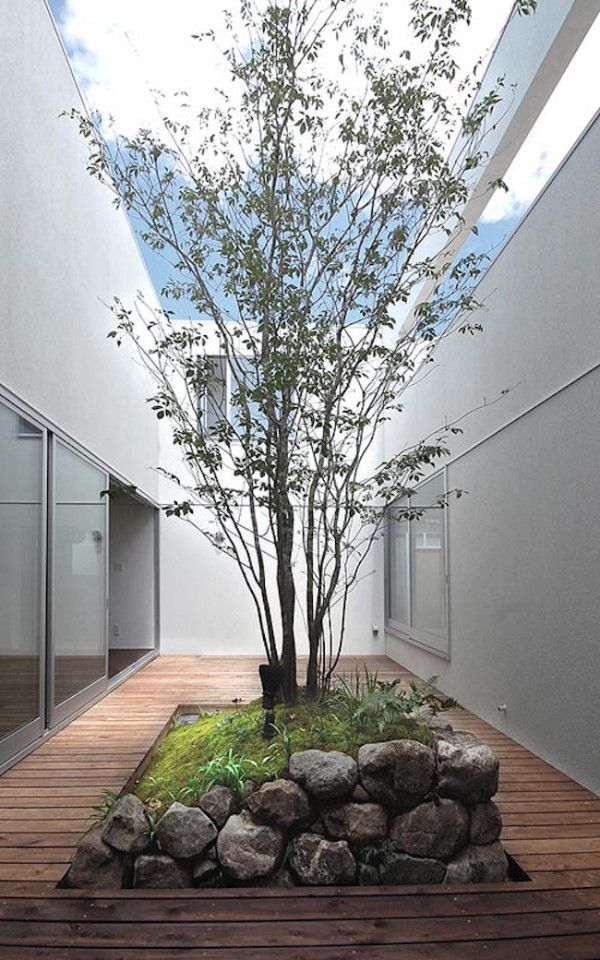 Courtyard with rock garden and surrounding deck