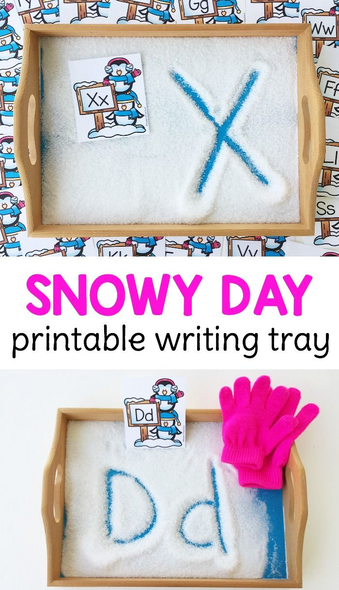 FREE snowy day alphabet writing tray for preschoolers & kindergarteners to practice letter formation!