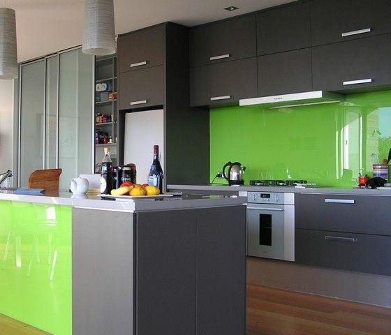 Kitchen design ideas modern kitchen design green for Grey and green kitchen