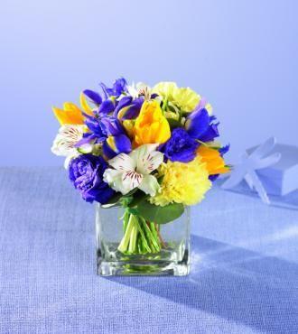 Purple Iris White Alstromeria With Yellow Tulips Reception Wedding Flowers Decor Flower Centerpiece Arrangement