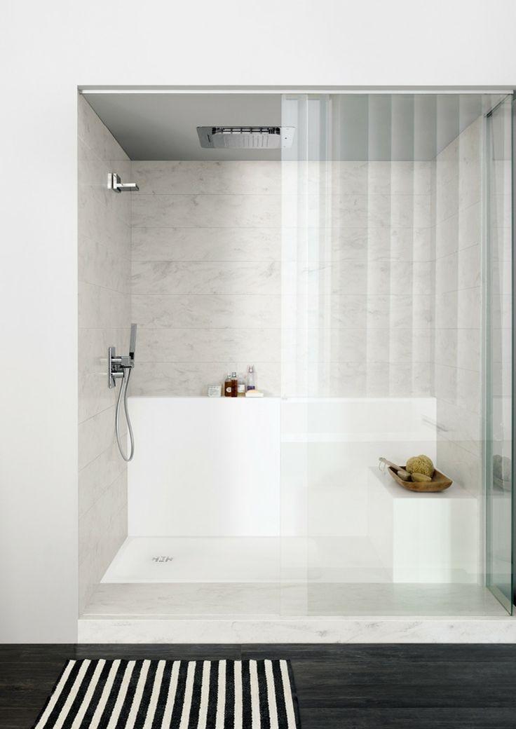 dusche corian duschwanne ablagefach spritzschutz #badezimmer #bathroom #design