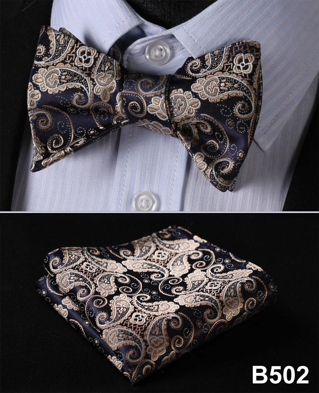 Ftoral 100%Silk Jacquard Woven Men bow tie, Wedding Butterfly Self Bow Tie Pocket Square Handkerchief BowTie Set Hanky Suit #B5