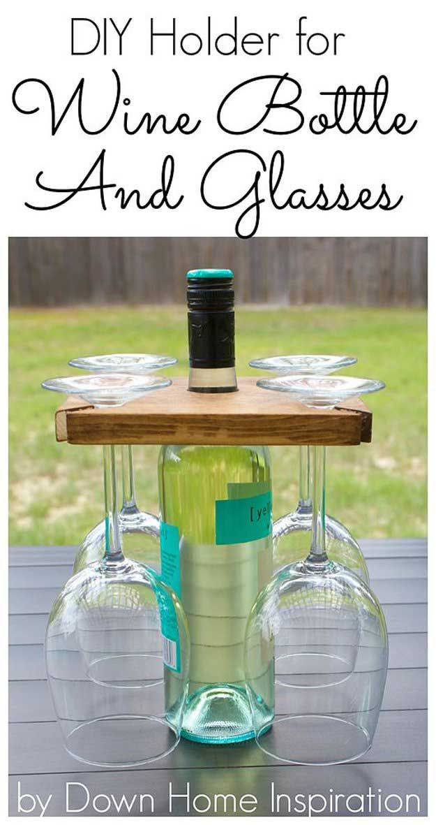 DIY Holder for Wine Bottle and Glasses | Easy Woodworking Projects