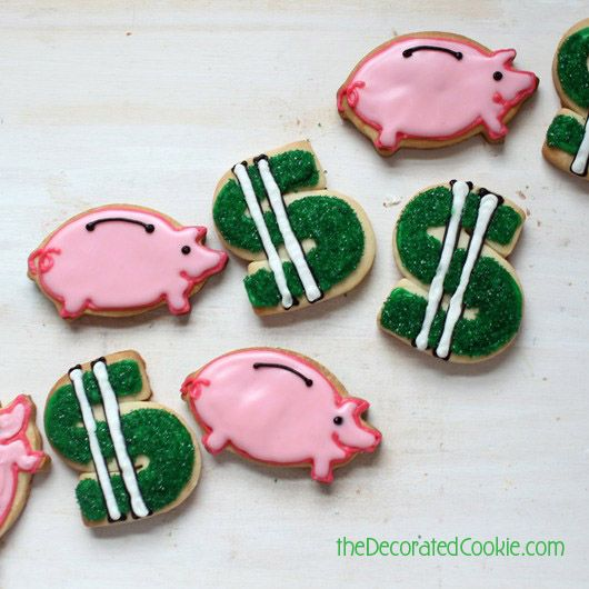MONEY! Piggy bank and dollar sign decorated cookies