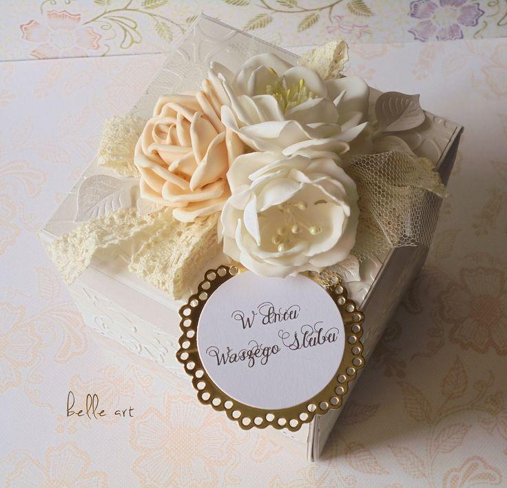 handcrafted wedding card, exploding box, kartka ślub,