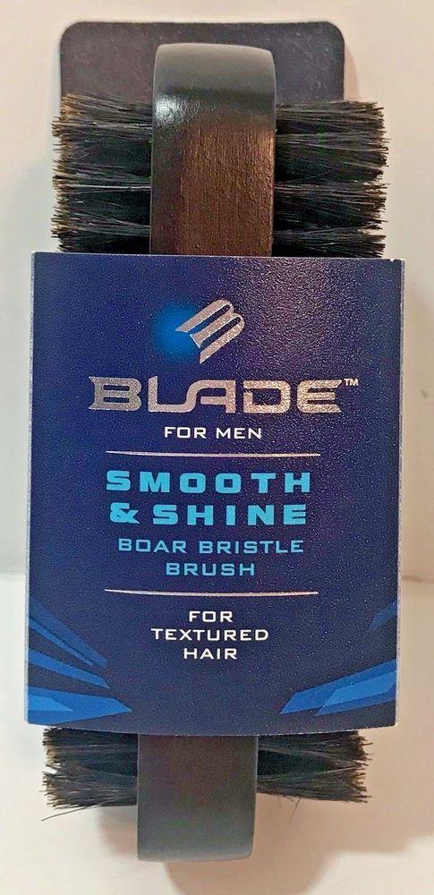 Boar Bristle Brush Men's Blade Smooth Shine Textured Hair Two Sided Brown Beard #Blade