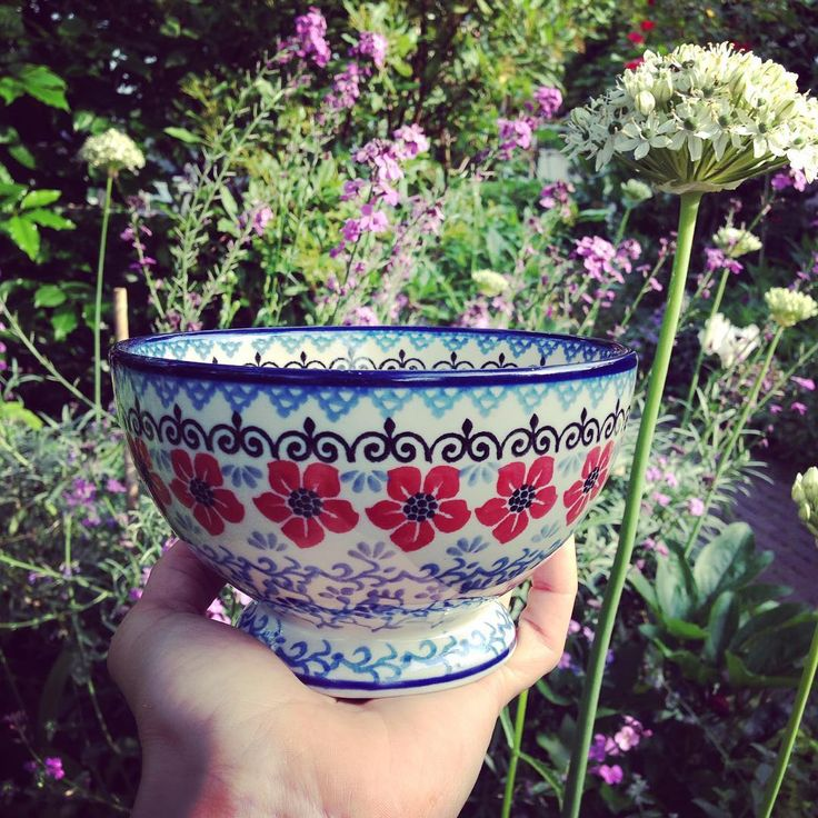 I just love my new #caffelatte bowl, completely hand stamped and hand painted in…