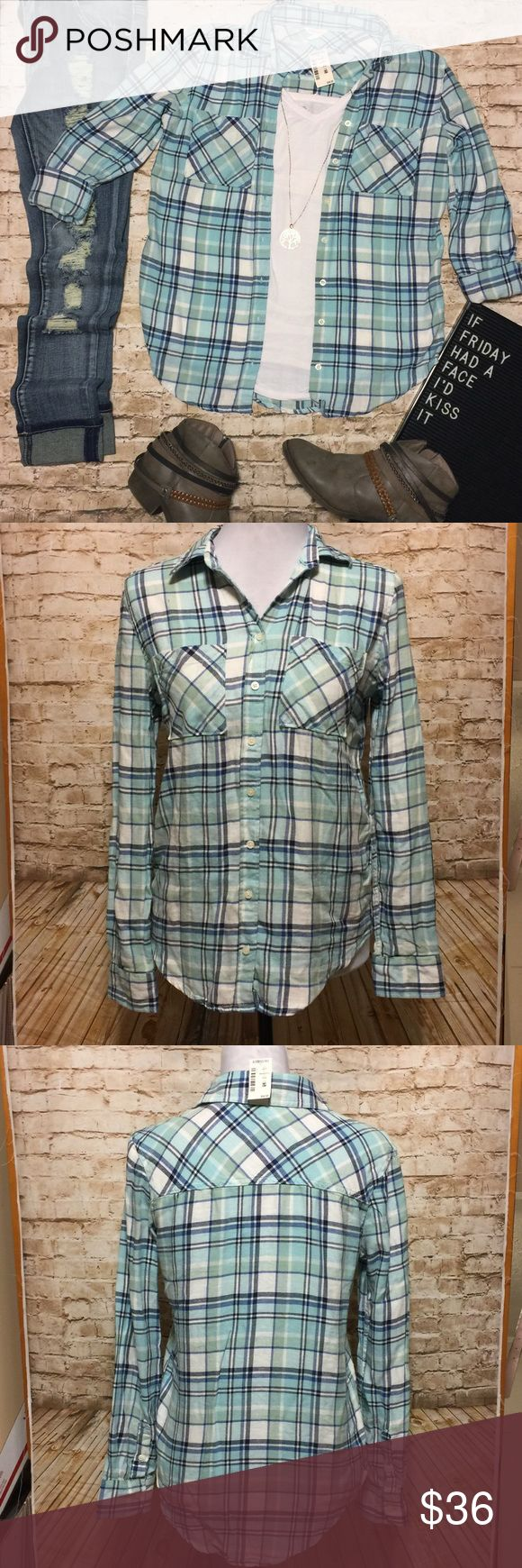"NWT Aeropostale Plaid Flannel Shirt Super cute plaid flannel button down shirt by Aeropostale. Turquoise, light blue, navy, and white. New with tags and flawless condition. Looks perfect with skinny jeans and booties.   Measurements lying flat: • Bust: 19"" across from armpit to armpit  • Length: 26"" Aeropostale Tops Button Down Shirts"