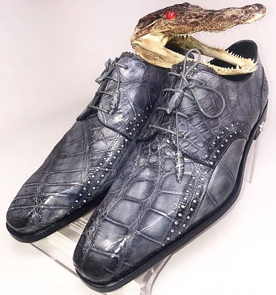 Genuine Alligator Leather Oxford Business Dress Shoes