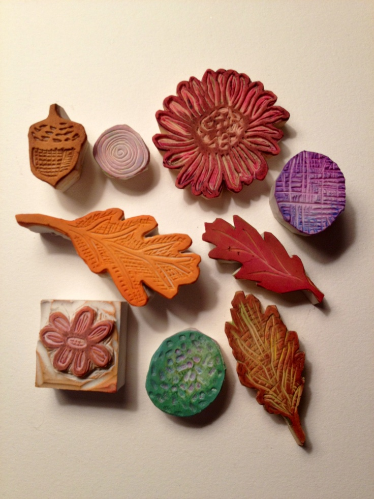 Hand carved stamps #stamping - leaves and flowers