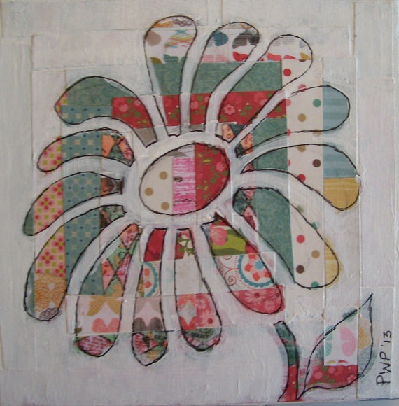 This is a collage flower but good inspiration for a quilt block!