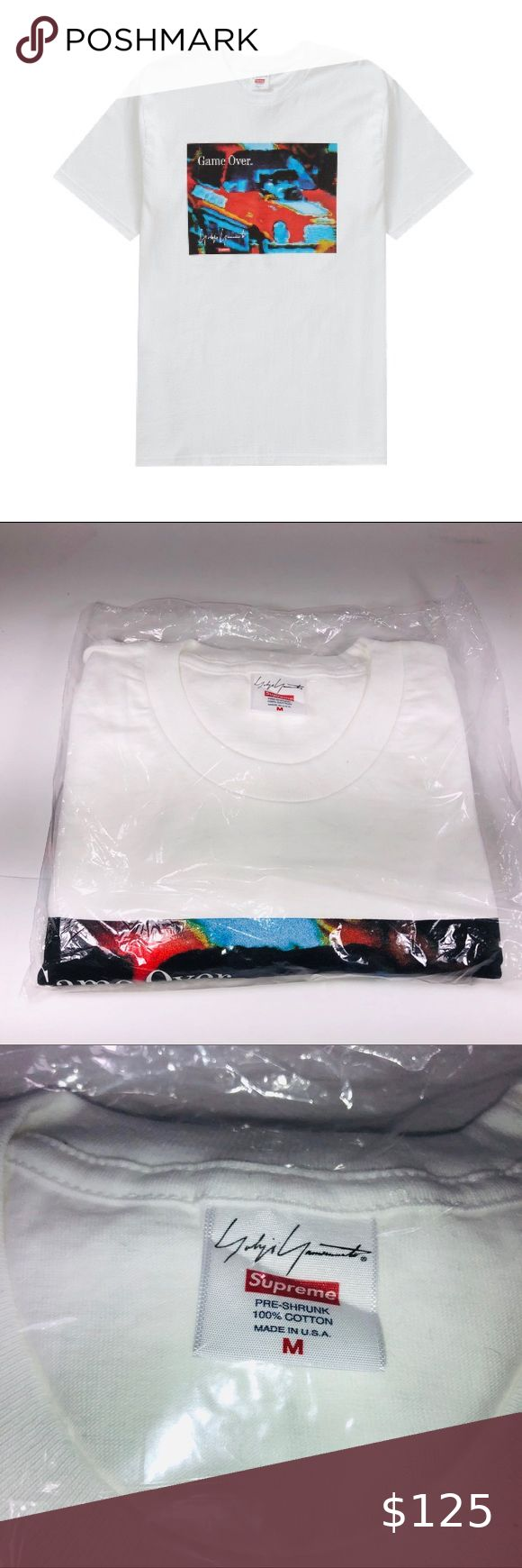 Supreme Yohji Yamamoto Game Over White Tee Shirt White Tee Shirts Chart Tee Tee Shirts