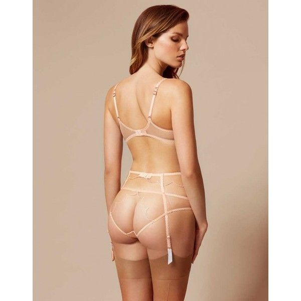 Lorna Suspender In Nude And White   By Agent Provocateur ❤ liked on Polyvore featuring intimates, white lingerie, bridal lingerie, nude lingerie, agent provocateur and agent provocateur lingerie