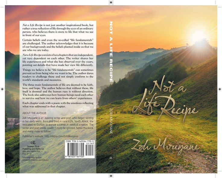 Not A Life Recipe Author Zoh Mvuyane Book     Paying it forward printed by. www.printondemand.co.za Cape Town Printers