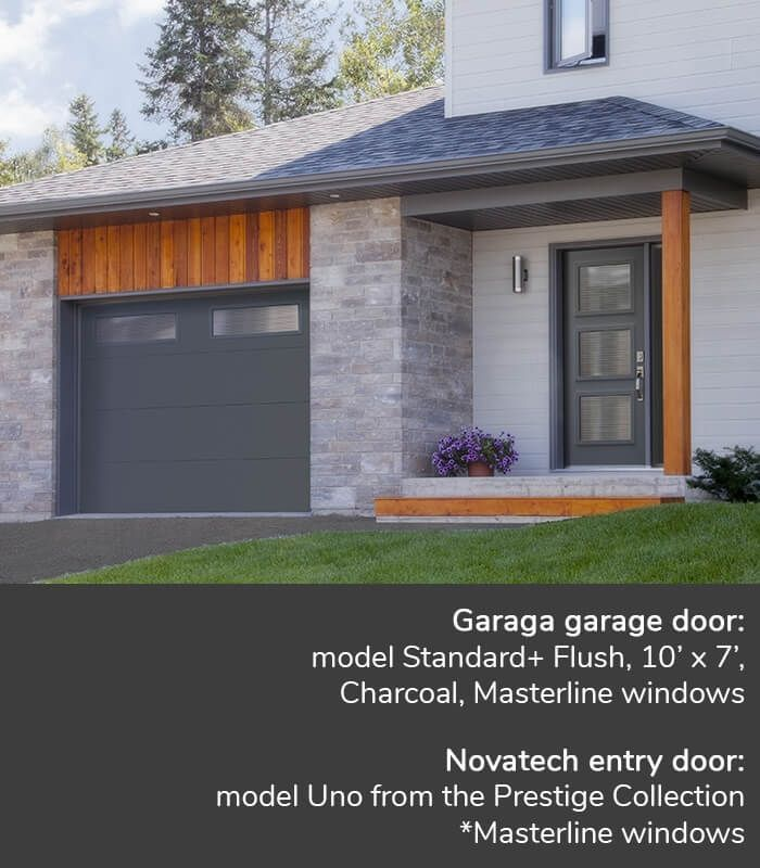 Garaga Garage Door Model Standard Flush 10 X 7 Charcoal Masterline Windows Novatech Entry Garage Door Styles Black Garage Doors Garage Doors