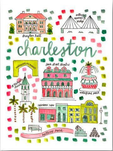 Charleston South Carolina Map Print | Sassy Shortcake | sassyshortcake.com