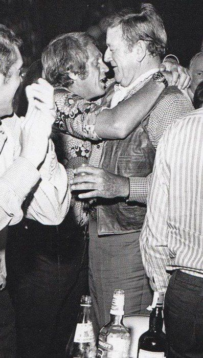 Steve McQueen and John Wayne.  They may have been drinking. :)