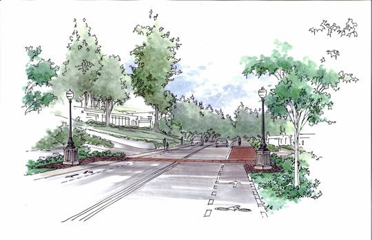 Hand rendered perspective drawing graphics rendering for Landscape and garden design sketchbooks