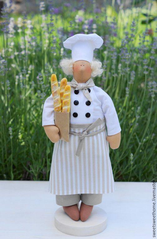 Купить Пекарь из Прованса - белый, светло-серый, светло-бежевый, повар, тильда повар, пекарь