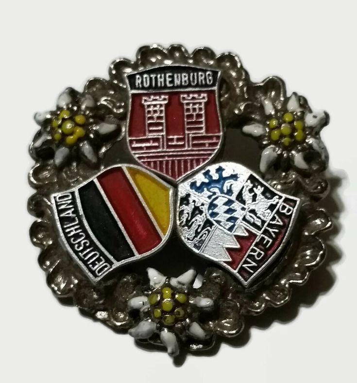 Vintage Germany Souvenir Brooch Pin Rothenburg Deutschland Bayern Enamel Crest