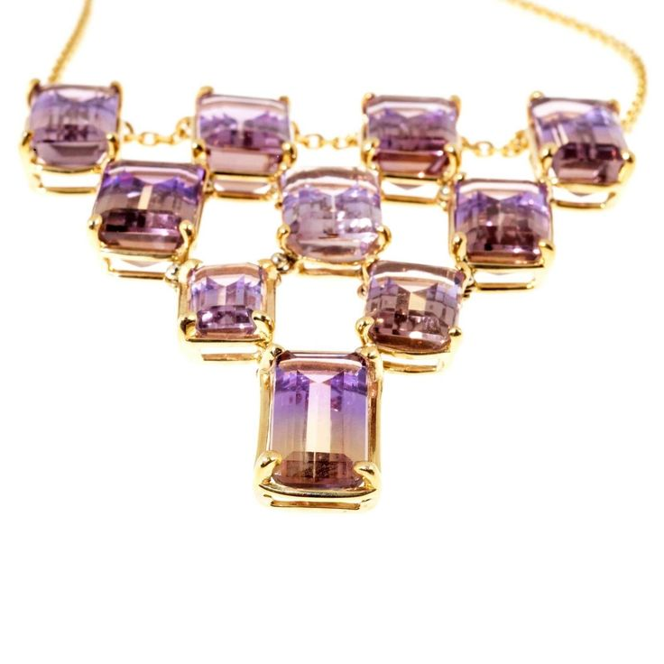 ametrine jewelry | Peter Suchy Ametrine Yellow Gold Pendant Necklace Chain For Sale at ...