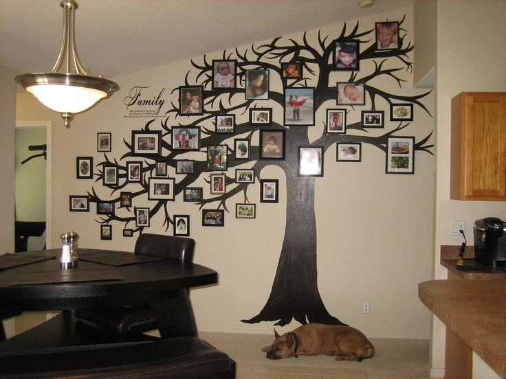 Tree painted on an irregular shaped wall with miscellaneous picture frames from the dollar store painted black with family photos. Easy to update and rotate new photos in.