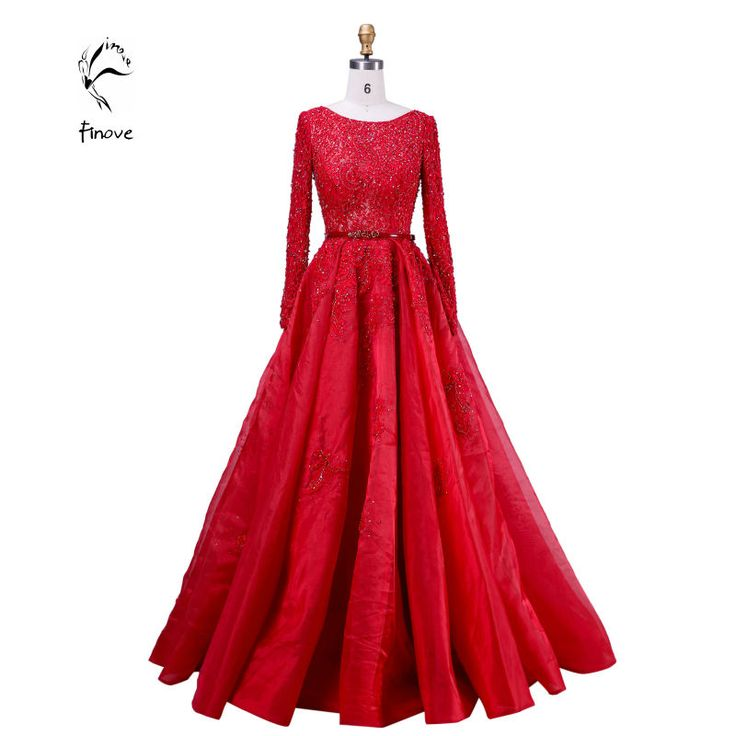 Elie Saab Evening Dresses Elegant with Long Sleeve Crystal Beading Scoop-Neck Sashes Lace Ball Gown Prom Dresses Fast Shipping ** Learn more by visiting the image link.