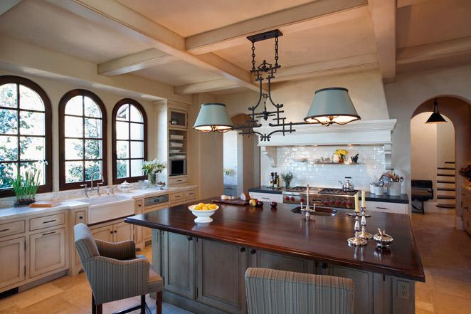 The island...the ceiling...the chairs...the light fixture...fabulous!