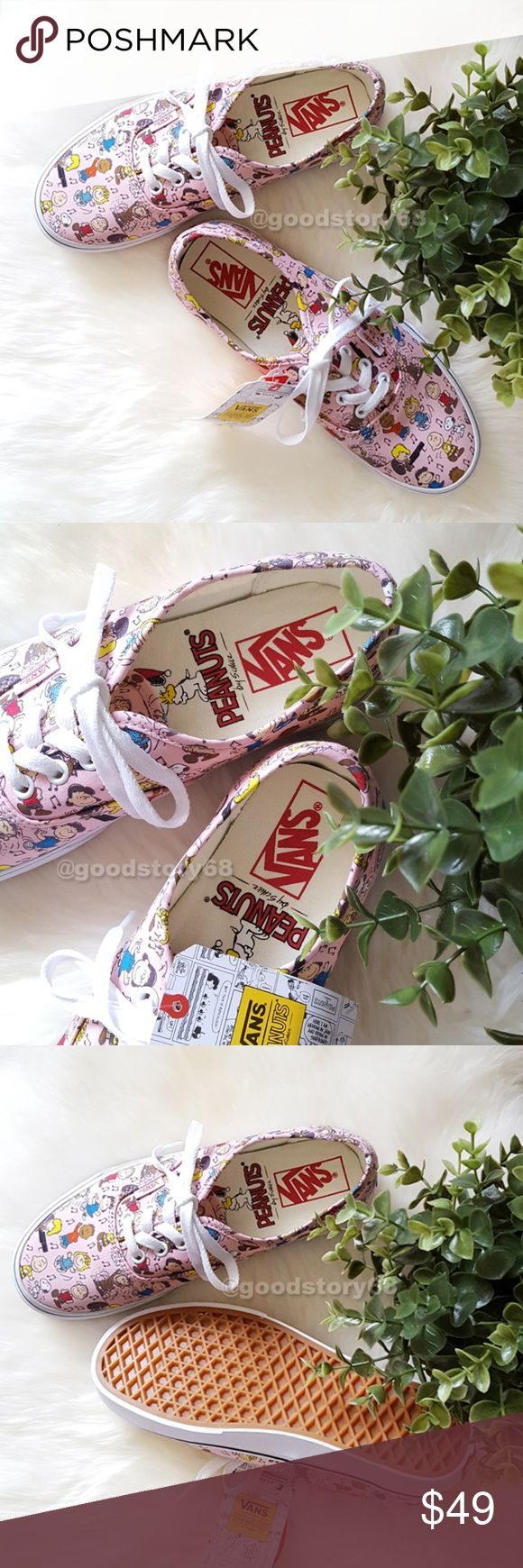 Vans x Peanuts Dance Pink & White Skate Shoes Vans original and now iconic style, is a simple low top, lace-up with durable canvas upper, metal eyelets, Vans flag label and Vans original waffle outsole. Vans Shoes Athletic Shoes