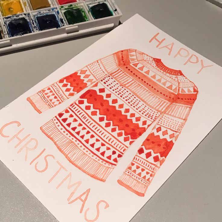 Christmas sweater original watercolour card    A Christmas sweater watercolor holiday cards to spread some Christmas cheer.     Christmas   illustrated cards   seasons greetings   original illustration    https://www.behance.net/gallery/45897653/2016-Christmas-cards