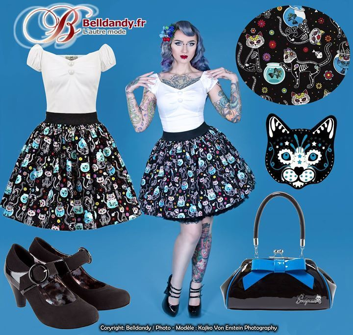 Un look rockabilly day of the dead kitty de la tête aux pieds !  Jupe Pin-Up Rockabilly Rétro 50s Ample Chat Day of the Dead  https://www.belldandy.fr/jupe-pin-up-rockabilly-retro-50-s-ample-chat-day-of-the-dead.html  Top Débardeur Pin-Up Rétro Rockabilly Dolores  https://www.belldandy.fr/top-debardeur-pin-up-retro-rockabilly-dolores-40870.html  Sac à Main Pin-Up Rockabilly Rétro 50s Floozy  https://www.belldandy.fr/sac-a-main-pin-up-rockabilly-retro-50-s-floozy-46643.html  Chaussures…