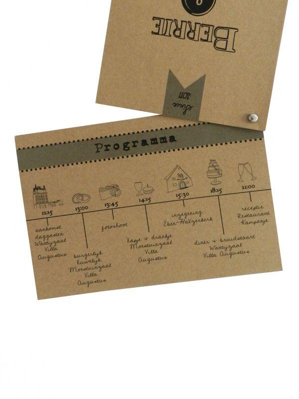 Vintage kaart Berrie & Eline | Trouwlabels | Huis & Grietje