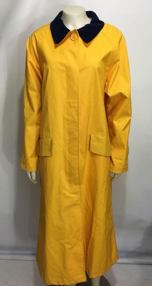 Talbots Yellow Vinyl Rain Coat Slicker Full Length Womens