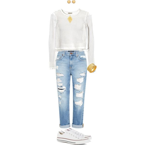 Go basic by karen-poonoosamy on Polyvore featuring polyvore, fashion, style, Rebecca Taylor, Genetic Denim, Converse, INC International Concepts and Carolee