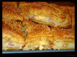 Πιτα με πατάτες μπεικον και τυρί