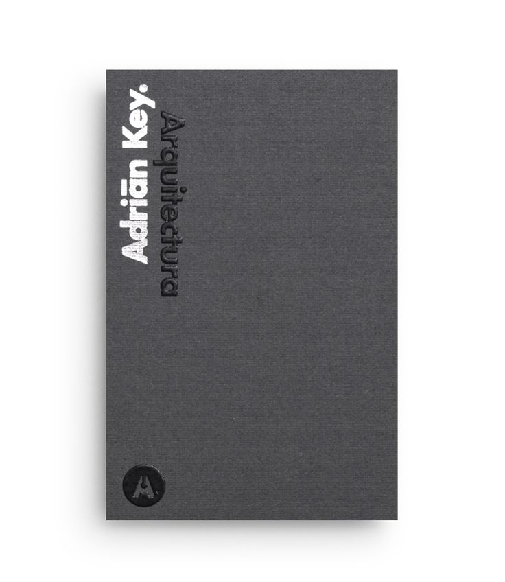 Duplex business card with thermographic ink and silver foil detail designed by Face Creative for MX architecture firm and architect Adrián Key