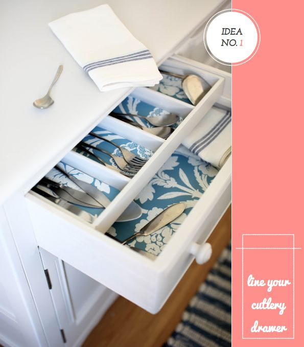 Five Creative Ideas For Using Wallpaper - line a cutlery drawer