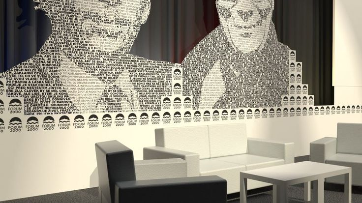 FORUM 2000 - Dalai Lama with Václav Havel Graphic design + 3D visualisation