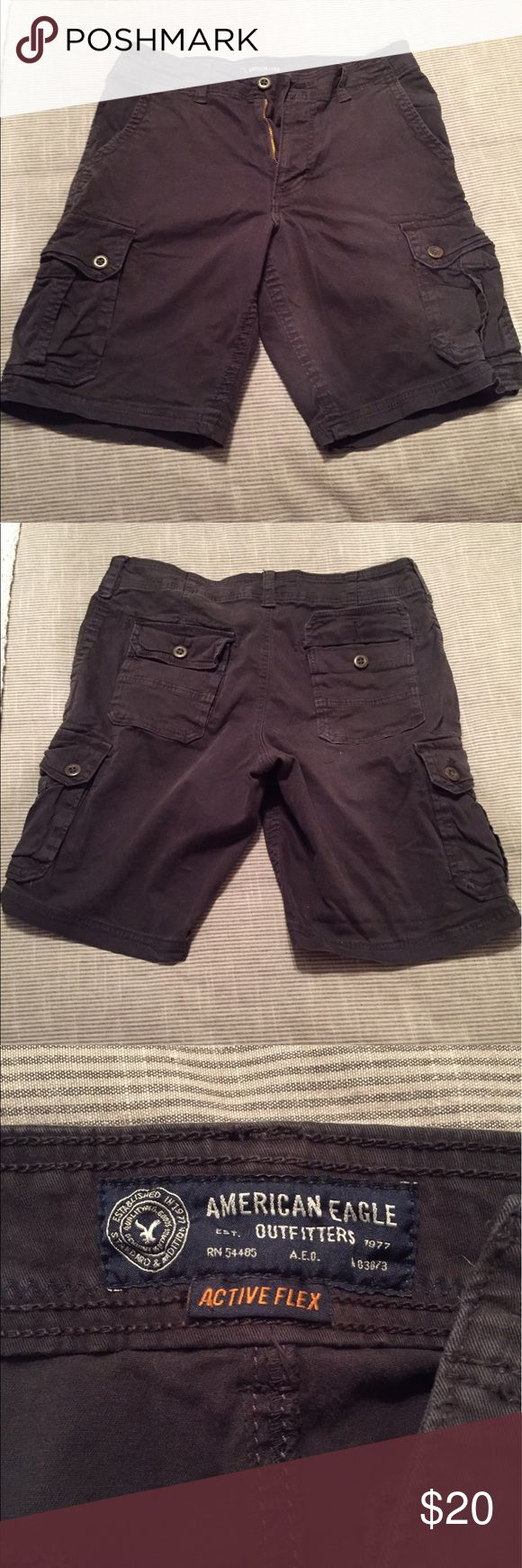 American Eagle men's Active Flex Black Shorts 33 Up for sale is a lightly used pair of men's American Eagle Active Flex shorts. These shirts are lightly used, and are a men's size 33, black in color. Very comfortable! American Eagle Outfitters Shorts Cargo
