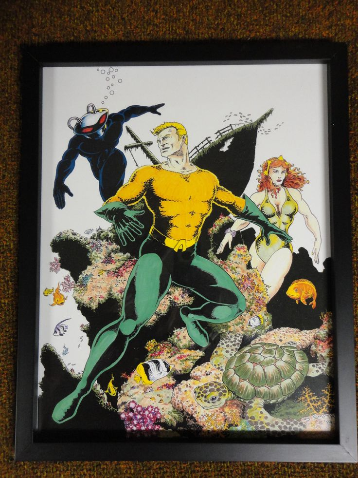 Aquaman drawing with mixed media. Made prints for the kids.