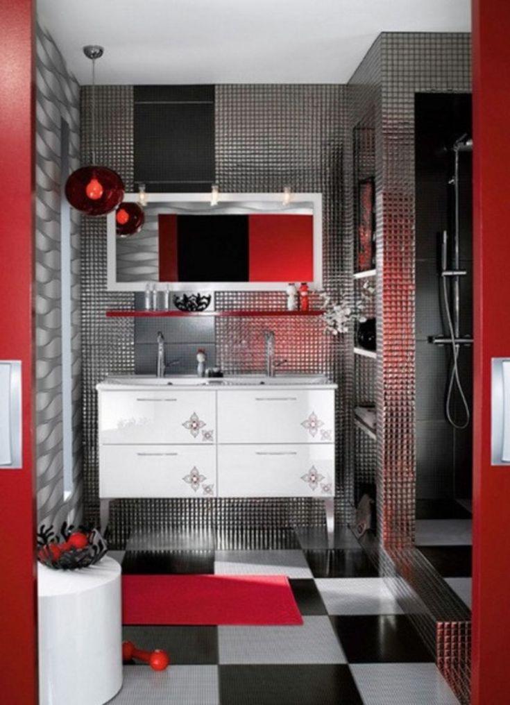 modern bathroom fountain valley reviews%0A    Cool and Bold Red Bathroom Design Ideas