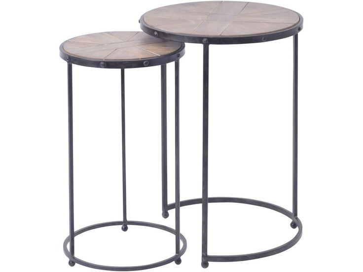 round nesting tables   parquet wood and metal side tables   herringbone wood nest of tables   shabby chic nesting tables   warehouse style nesting tables