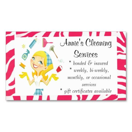 cleaning services maid business card pink