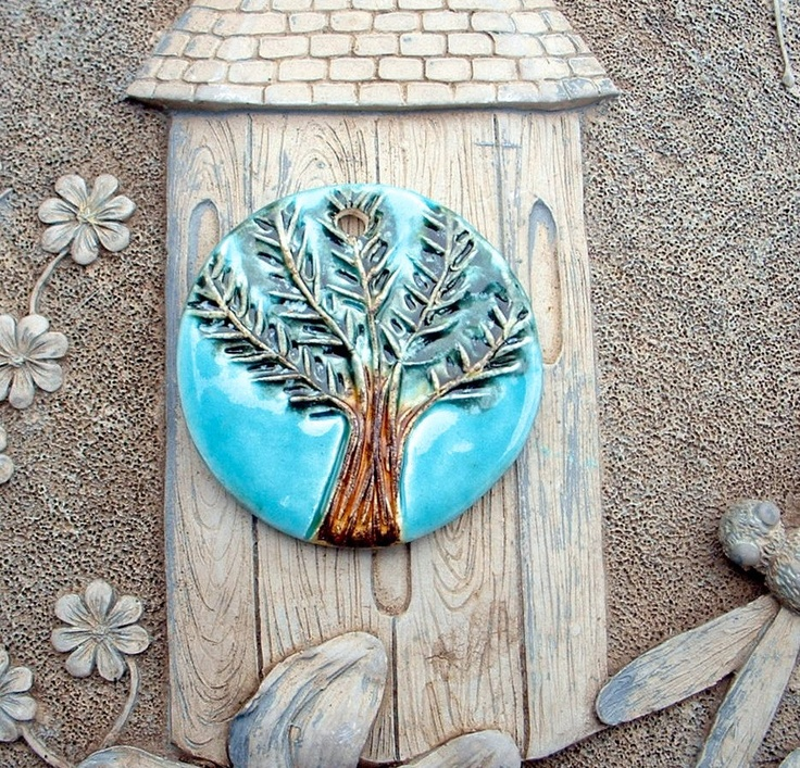 Evergreen Snow Tree Ceramic Clay Pottery Pendant. $12.00, via Etsy.