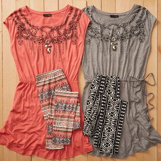 boho tunic tops + patterned leggings