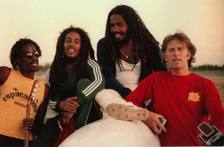 *Jacob Miller*, Junior Marvin, Bob Marley & Chris Blackwell. More fantastic pictures and videos of *Bob Marley & Jacob Miller* on: https://de.pinterest.com/ReggaeHeart/