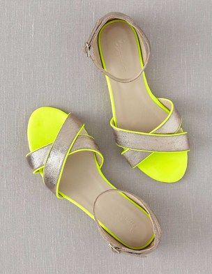Sorrento Sandals by Boden // Neon AND metallic AND an ankle strap?!